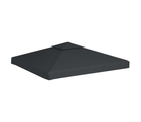 vidaXL Recouvrement de remplacement d'auvent 310 g/m² 3x3 m Gris foncé[2/5]
