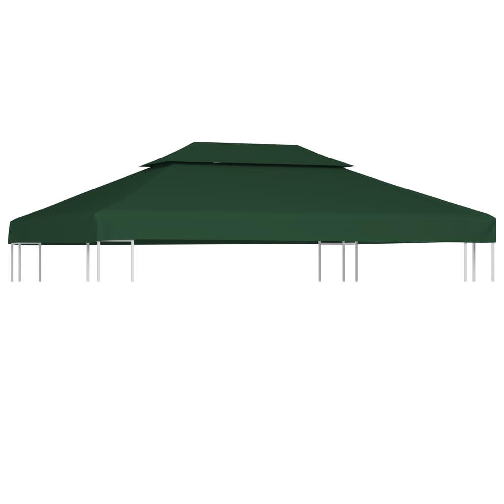 vidaXL Copertină de rezervă acoperiș foișor, verde, 3 x 4 m, 310 g / m² poza 2021 vidaXL