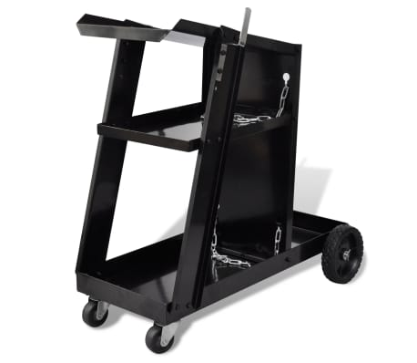 Welding Cart Black with 3 Shelves Workshop Organizer[1/4]