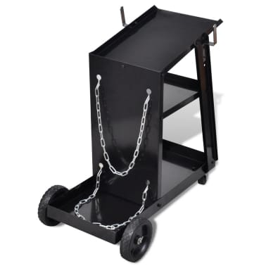 Welding Cart Black with 3 Shelves Workshop Organizer[4/4]