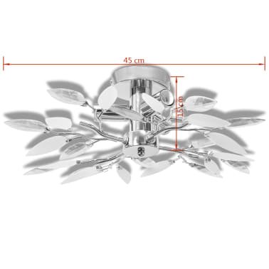 Ceiling Lamp White & Transparent Acrylic Crystal Leaf Arms 3 E14 Bulbs[4/6]
