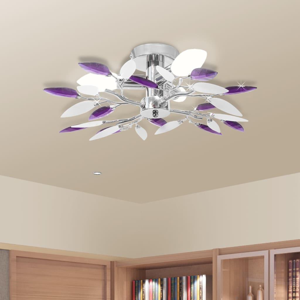 vidaXL Taklampe med krystalløv i hvit og lilla 3 E14-lyspærer