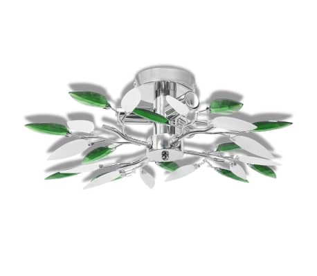 Ceiling Lamp Acrylic Crystal Leaf Arms 3 E14 Bulbs[2/6]