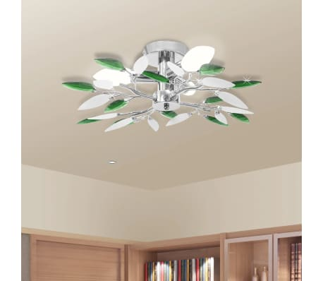 Ceiling Lamp Acrylic Crystal Leaf Arms 3 E14 Bulbs[1/6]