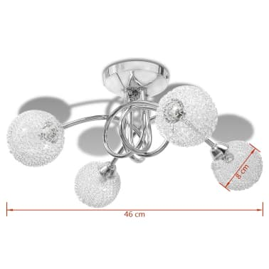 Lubų šviestuvas su tinkliniais gaubtais keturioms G9 lemputėms[6/8]