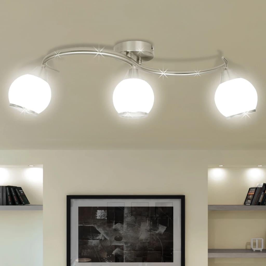 Stropní svítidlo, skleněná stínidla na zvlněné kolejnici 3 žárovky E14
