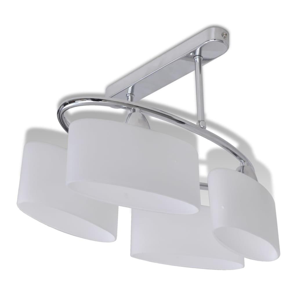 vidaXL Φωτιστικό Οροφής με Λευκό Ελλειψοειδές Κρύσταλλο 4φωτο Ε14