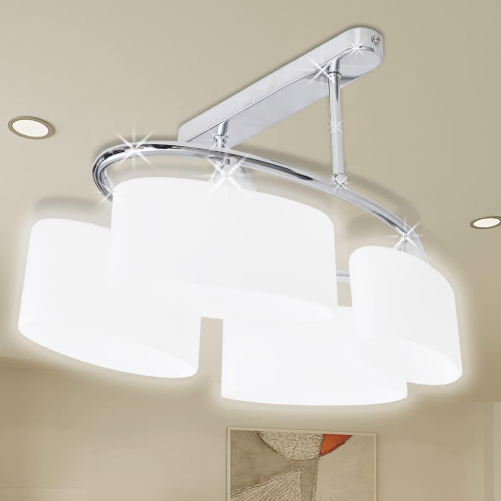 Stropní svítidlo s oválnými skleněnými stínítky, na 4 žárovky E14