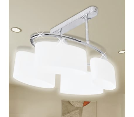 Ceiling Lamp with Ellipsoid Glass Shades for 4 E14 Bulbs[1/8]
