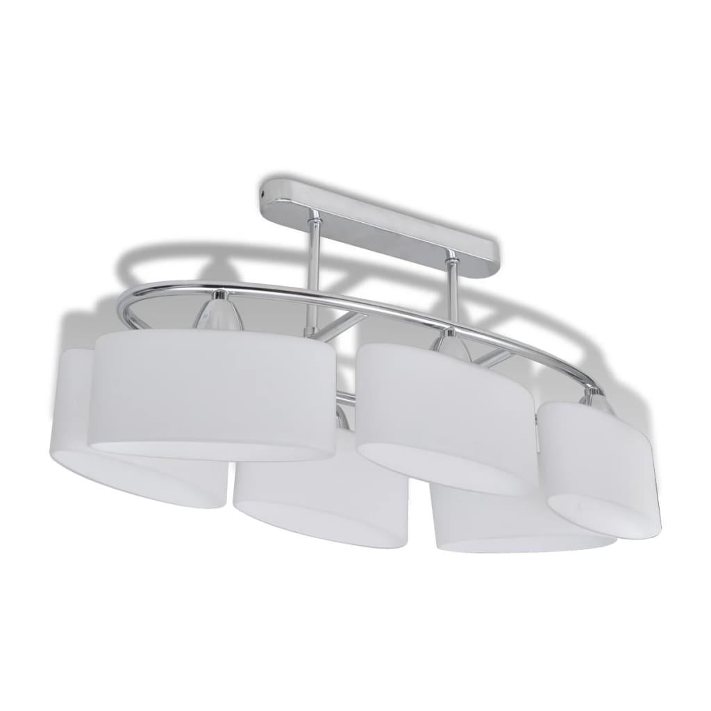 vidaXL Φωτιστικό Οροφής με Λευκό Ελλειψοειδές Κρύσταλλο 6φωτο Ε14