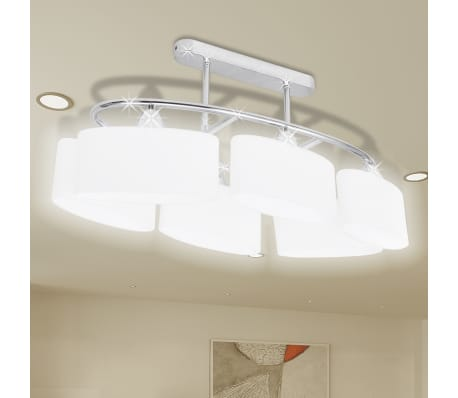 Ceiling Lamp with Ellipsoid Glass Shades for 6 E14 Bulbs[1/8]
