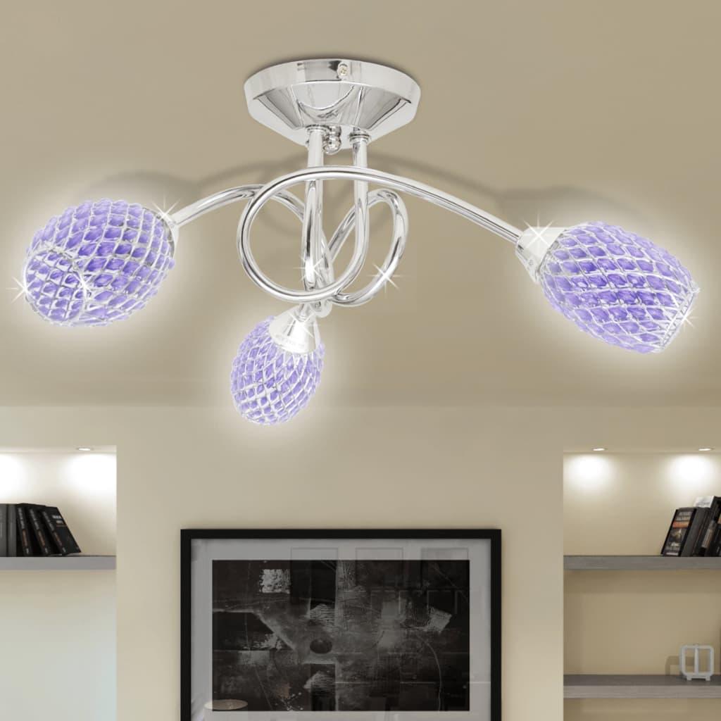 Stropní svítidlo, fialová akrylátová křišťálová stínidla, 3 žárovky G9