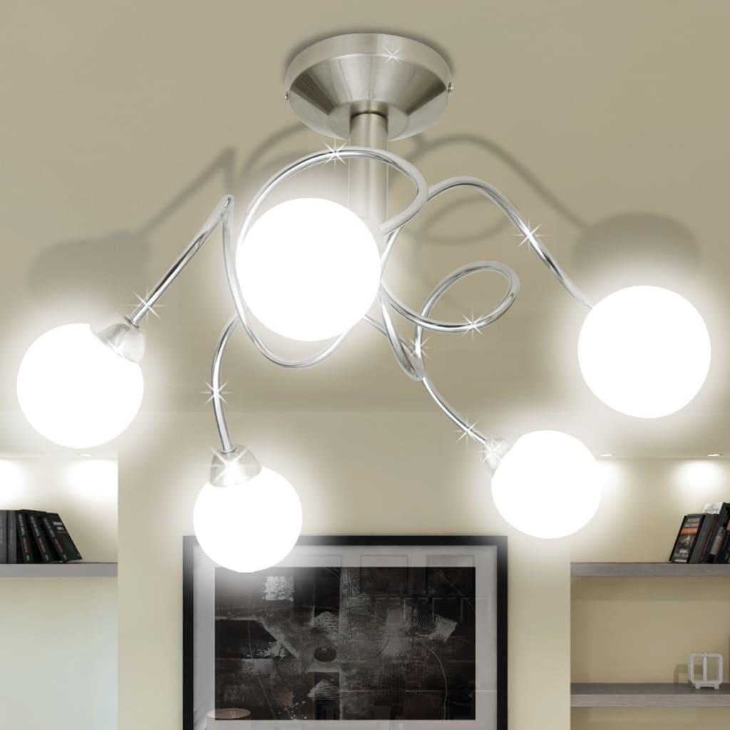 Stropní svítidlo s kulatými skleněnými stínítky, na 5 žárovek G9