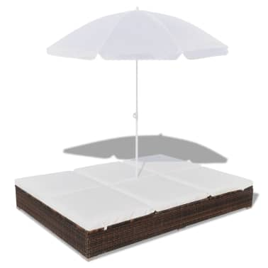 vidaXL Sun Bed with Parasol & Cushions Poly Rattan Brown[2/10]