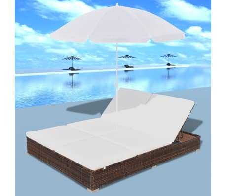vidaXL Sun Bed with Parasol & Cushions Poly Rattan Brown[3/10]