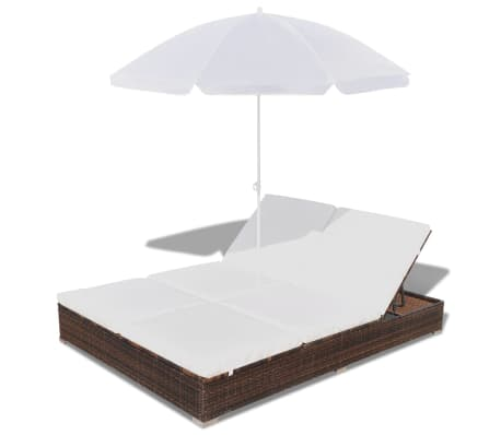 vidaXL Sun Bed with Parasol & Cushions Poly Rattan Brown[5/10]