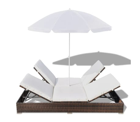 vidaXL Sun Bed with Parasol & Cushions Poly Rattan Brown[6/10]