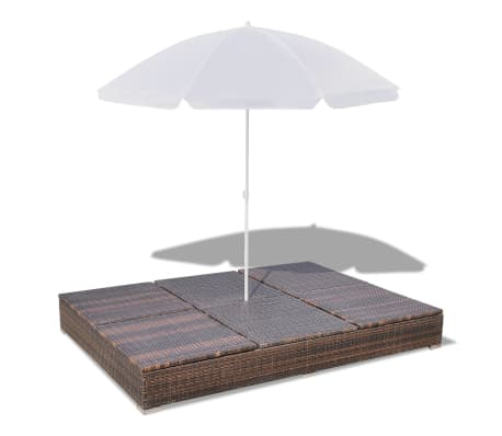 vidaXL Sun Bed with Parasol & Cushions Poly Rattan Brown[9/10]