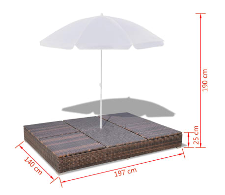 vidaXL Sun Bed with Parasol & Cushions Poly Rattan Brown[10/10]