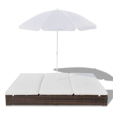 vidaXL Sun Bed with Parasol & Cushions Poly Rattan Brown[4/10]