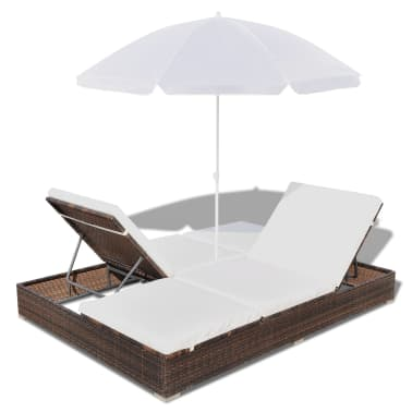 vidaXL Sun Bed with Parasol & Cushions Poly Rattan Brown[7/10]