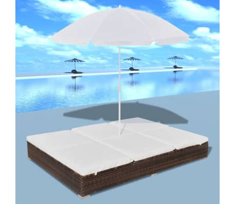vidaXL Sun Bed with Parasol & Cushions Poly Rattan Brown[1/10]