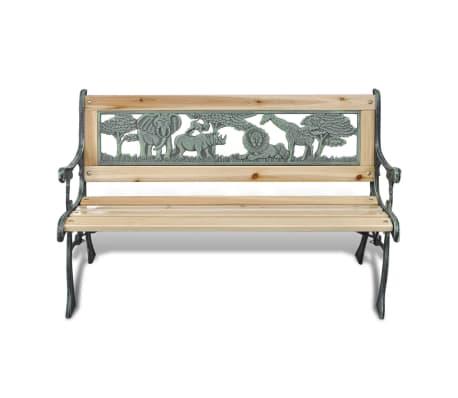 vidaXL Trädgårdsbänk med djurmönster för barn 80 x 24 cm[2/5]