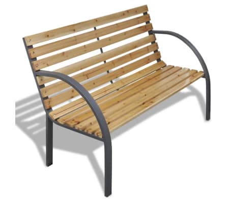 vidaXL Garden Bench 112 cm Wood and Iron[1/5]