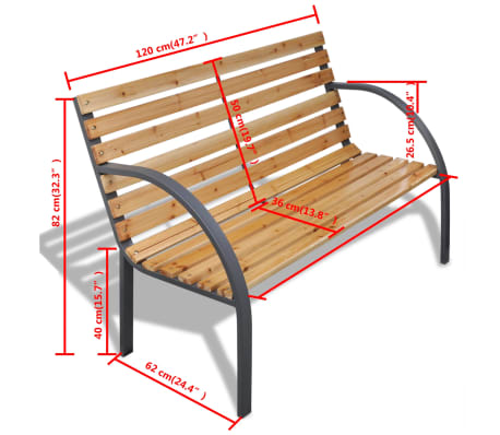 vidaXL Garden Bench 112 cm Wood and Iron[5/5]