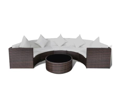 vidaxl gartenlounge set halbrund mit tisch braun poly rattan g nstig kaufen. Black Bedroom Furniture Sets. Home Design Ideas