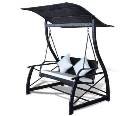 Outdoor Hanging Swing Chair with Roof Black Rattan[2/8]