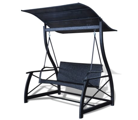 Outdoor Hanging Swing Chair with Roof Black Rattan[4/8]