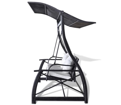 Outdoor Hanging Swing Chair with Roof Black Rattan[5/8]