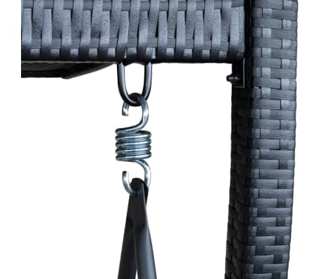 Outdoor Hanging Swing Chair with Roof Black Rattan[6/8]