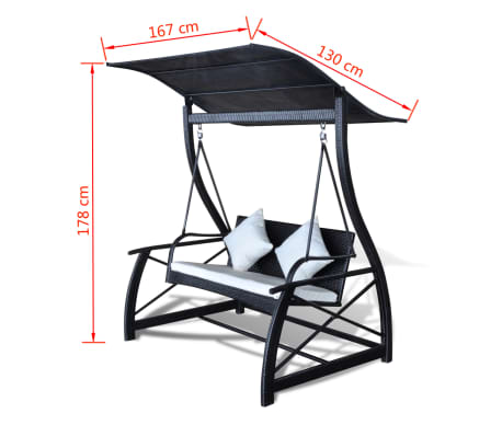 Outdoor Hanging Swing Chair with Roof Black Rattan[8/8]