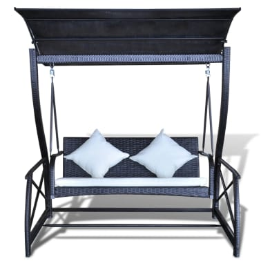 Outdoor Hanging Swing Chair with Roof Black Rattan[3/8]