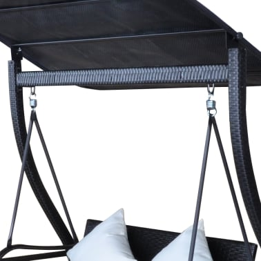 Outdoor Hanging Swing Chair with Roof Black Rattan[7/8]