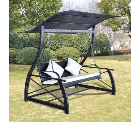 Outdoor Hanging Swing Chair With Roof Black Rattan[1/8]