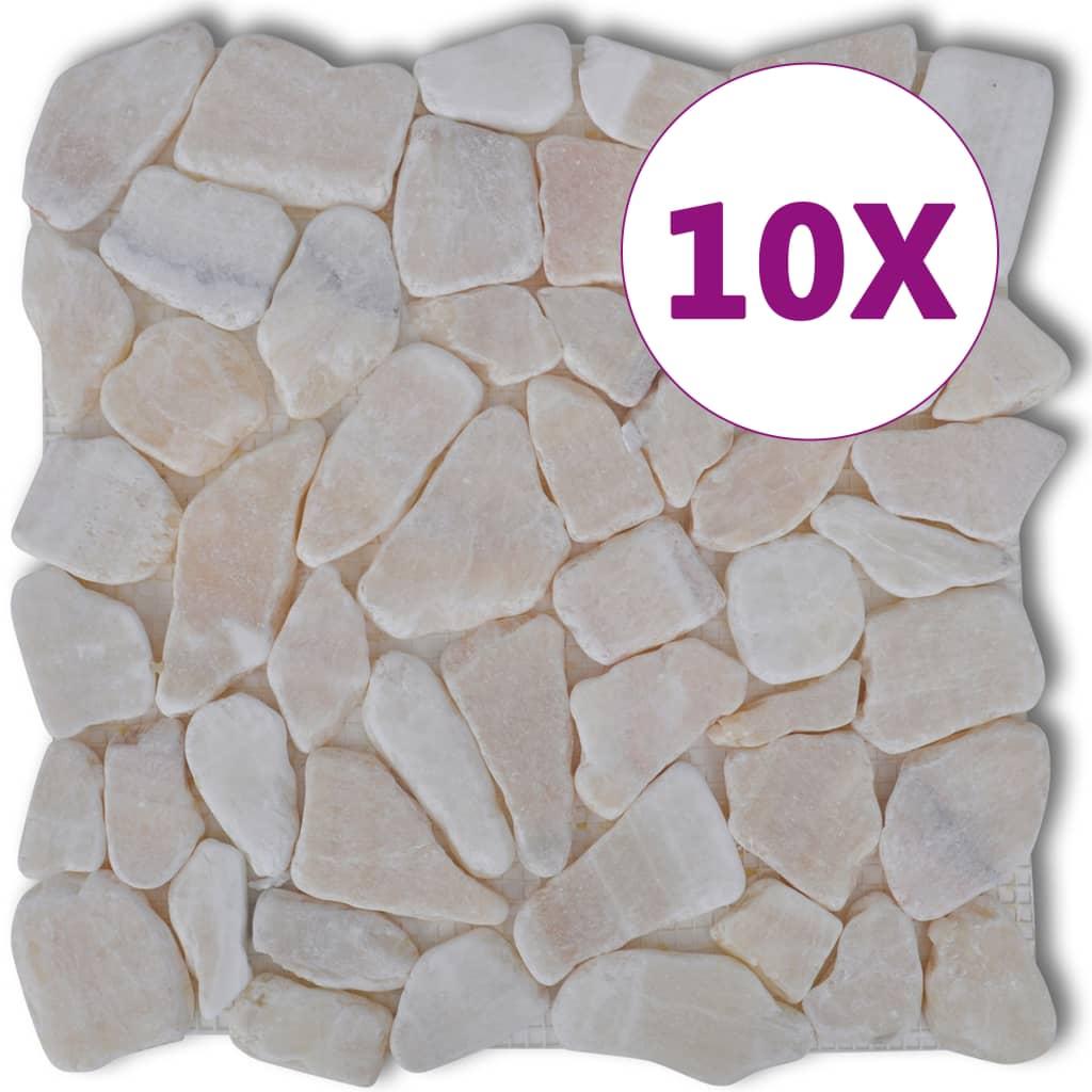 Afbeelding van vidaXL Stenen mozaïek tegels goud marmer 0,9 m2