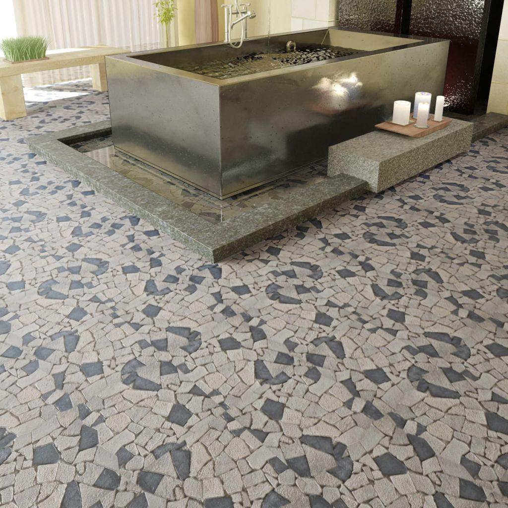 Kamenná mozaika černý a bílý mramor obklady, 0,9 m2