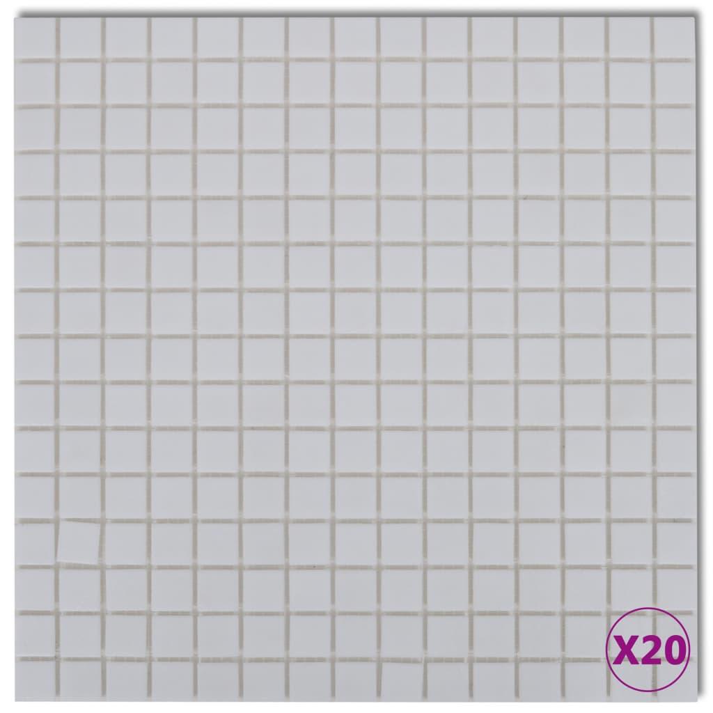 Skleněná mozaika bílé obklady, 20 ks (celkem 2,14 m2)