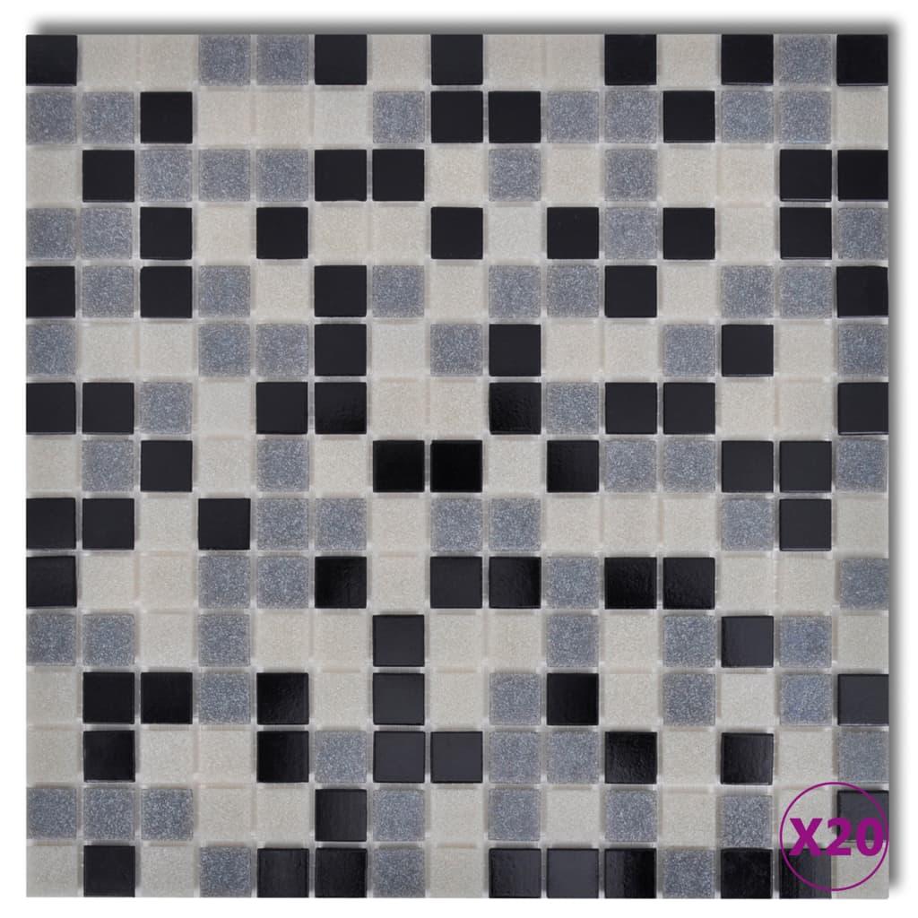 Skleněná mozaika černo-bílé-šedé obklady, 20 ks (celkem 2,14 m2)