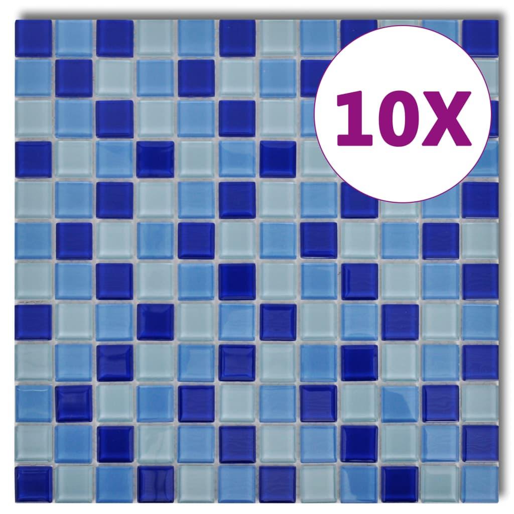 Skleněná mozaika modro-bílé obklady, 10 ks (celkem 0,9 m2)