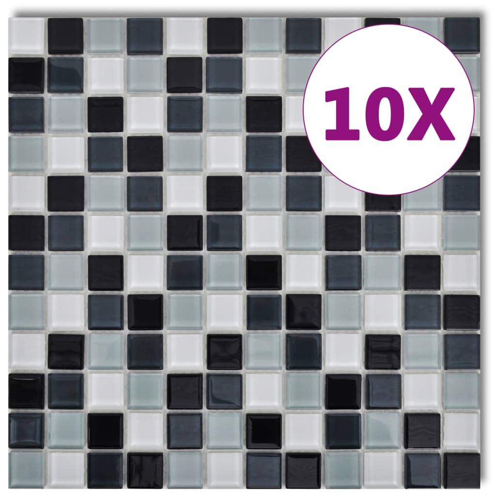 Skleněná mozaika černo-bílé-šedé obklady, 10 ks (celkem 0,9 m2)