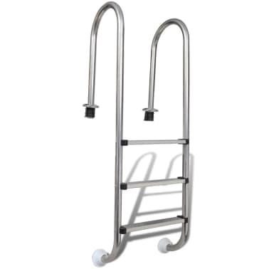 vidaXL Escalera de piscina 3 peldaños acero inoxidable 120 cm[1/6]