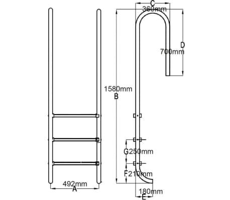 vidaXL Escalera de piscina 3 peldaños acero inoxidable 120 cm[6/6]