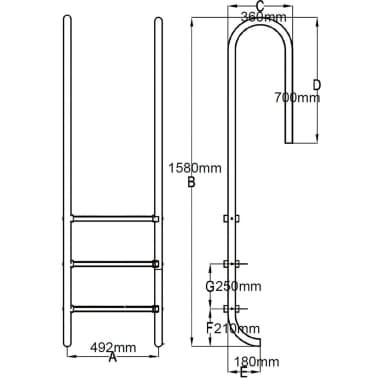 vidaXL Zwembadladder met 3 sporten 120 cm roestvrij staal[6/6]
