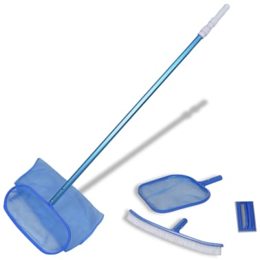 Pool Cleaning Set Brush 2 Leaf Skimmers 1 Telescopic Pole[1/7]