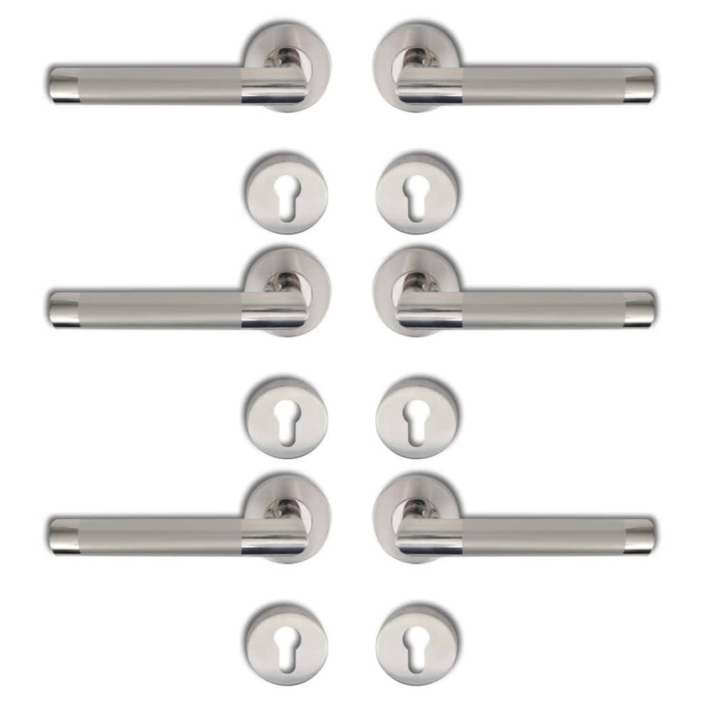 Afbeelding van vidaXL Deurklink gepolijst RVS cilinderrozet (3 sets)