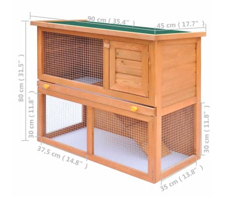 Outdoor Rabbit Hutch Small Animal House Pet Cage 1 Door Wood[8/9]